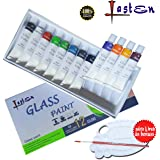 Lasten Glass Paint, Glass Art Painting, Non Toxic Glass Paint Set ,12 Colors Permanent Glass Paint Kit On Glass, Lacquer Based for Superior Stained Glass Art Paint, Stained Gallery Glass Windows