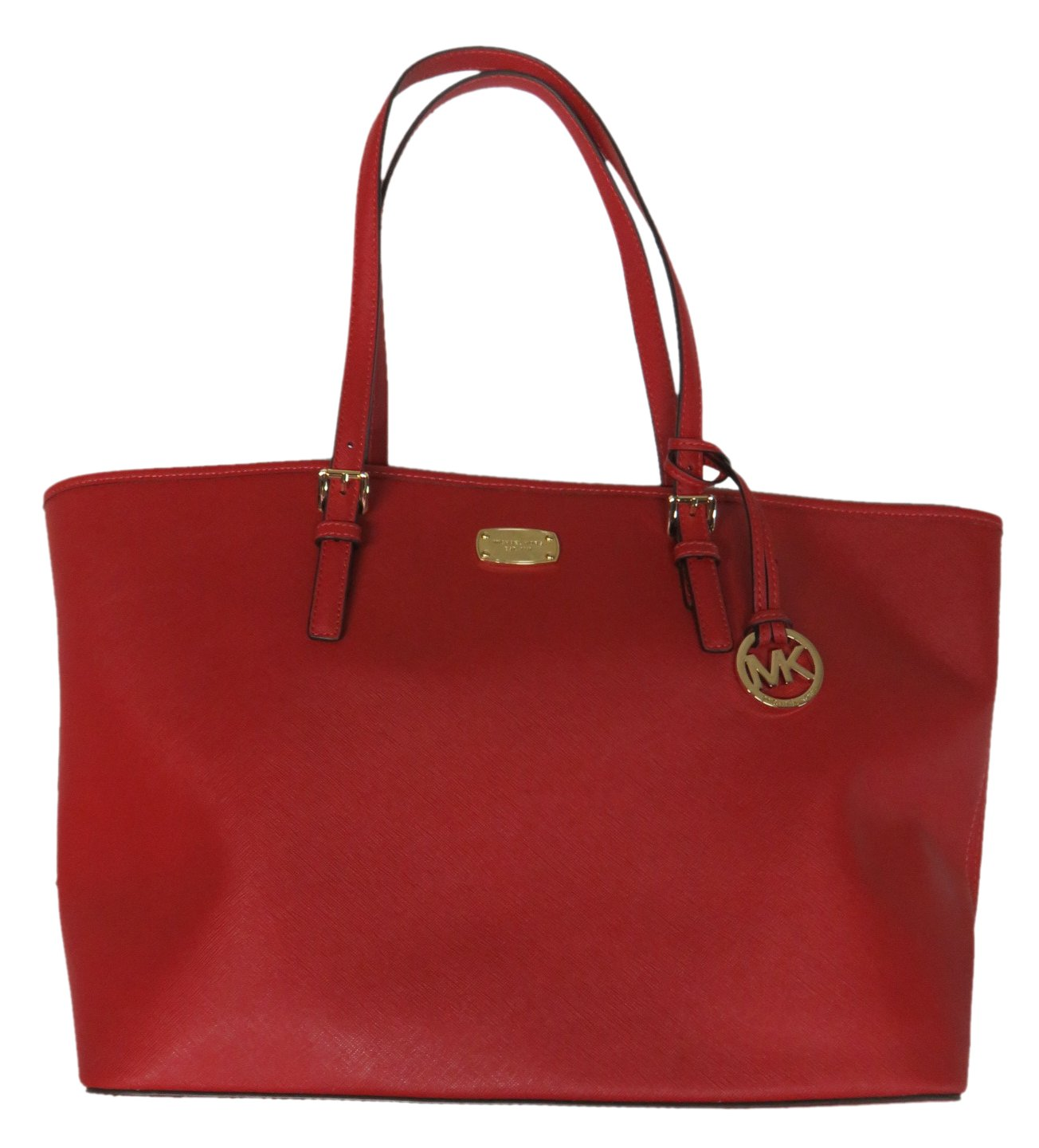 Michael Kors Leather Jet Set Large Carryall Travel Tote Red by Michael Kors