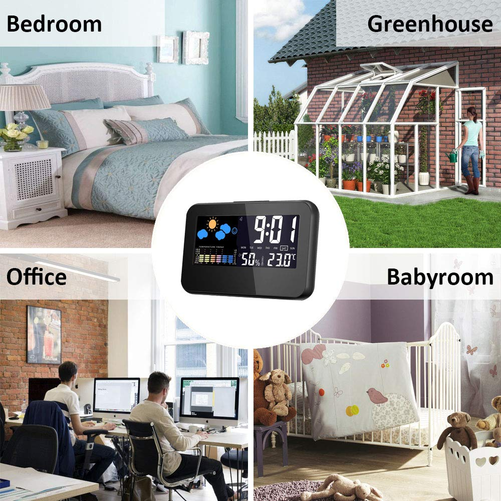 Lanker Digital Alarm Clock Weather Forecast and Snooze Function 5.5 Colorful Screen Indoor Thermometer Hygrometer with Time//Week//Date//Temperature//Humidity Display AC09B