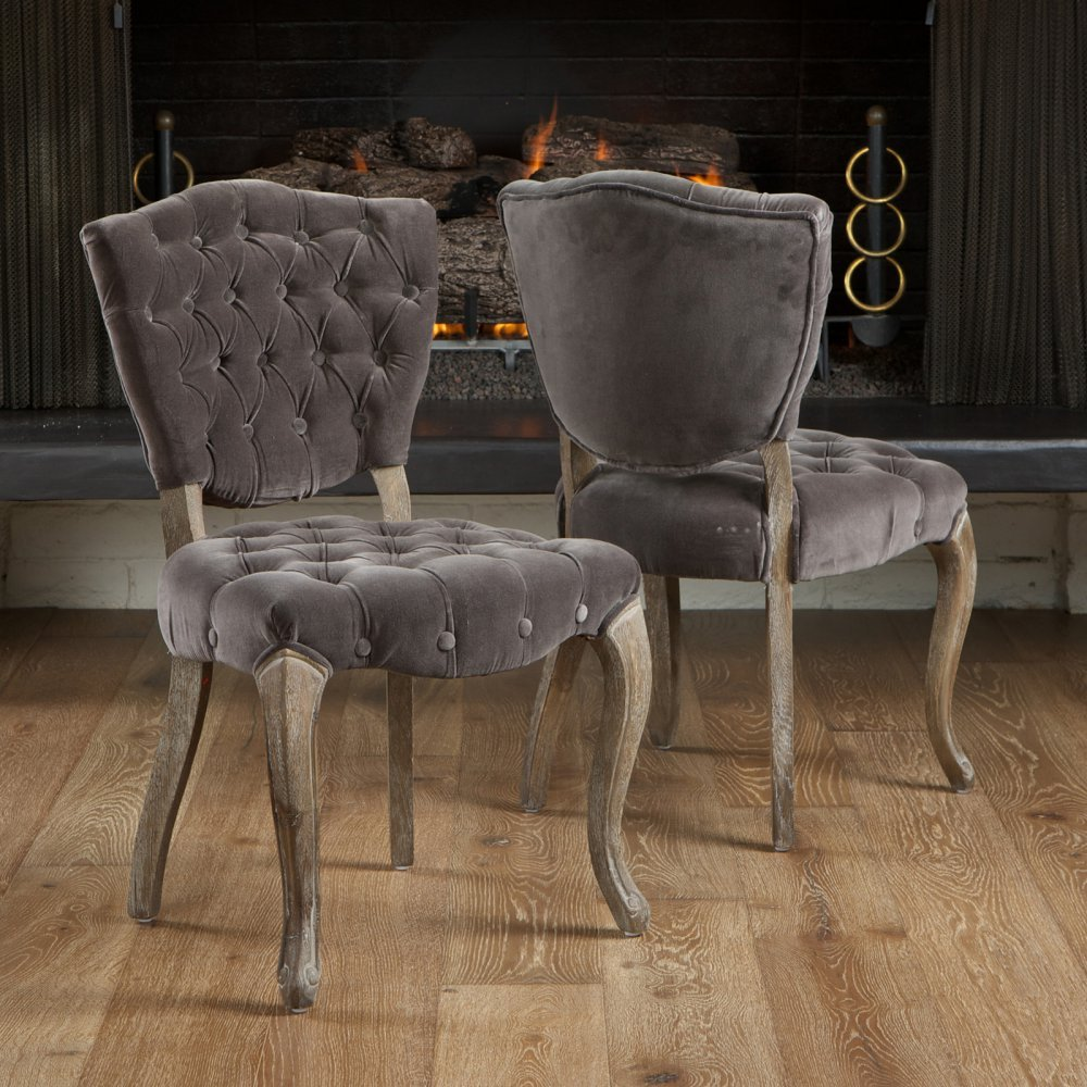Amazon.com: Best Selling Lane Tufted Fabric Dining Chair, Charcoal ...