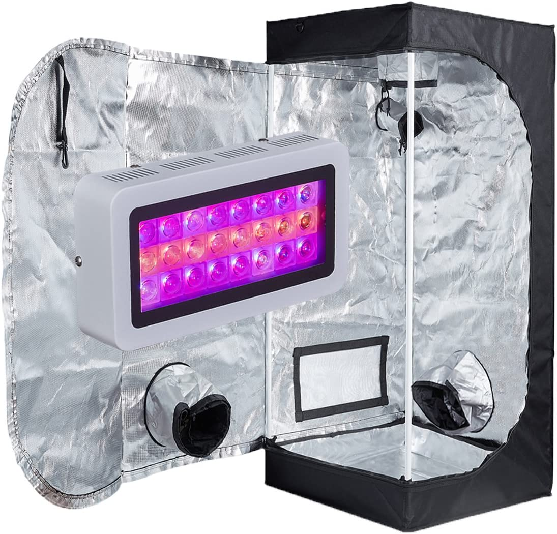 TopoLite Grow Tent Kit 300W Full Spectrum LED Grow Light 16 x16 x48 Grow Tent Dark Room Indoor Plants Growing Hydroponic System Kit LED 300W, 16 X16 X48