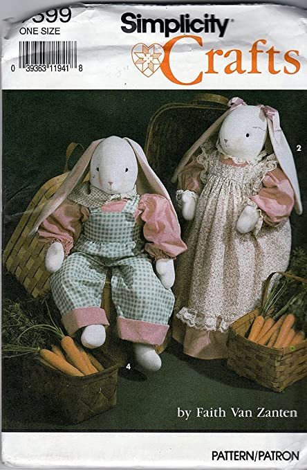 Amazon.com: Simplicity 7599 Crafts Sewing Pattern Bunny & Wardrobe ...