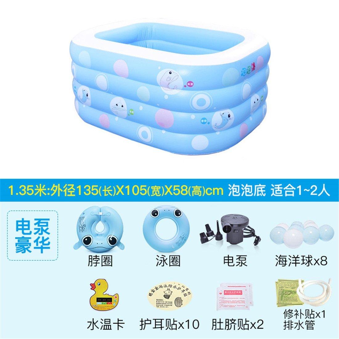 MIWENGrueso ecológico PVC Piscina Plegable Inflable Cuadrado bebé Piscina de la Piscina del hogar 135  105  58 cm para 1-2 Personas Bomba Eléctrica Inflable