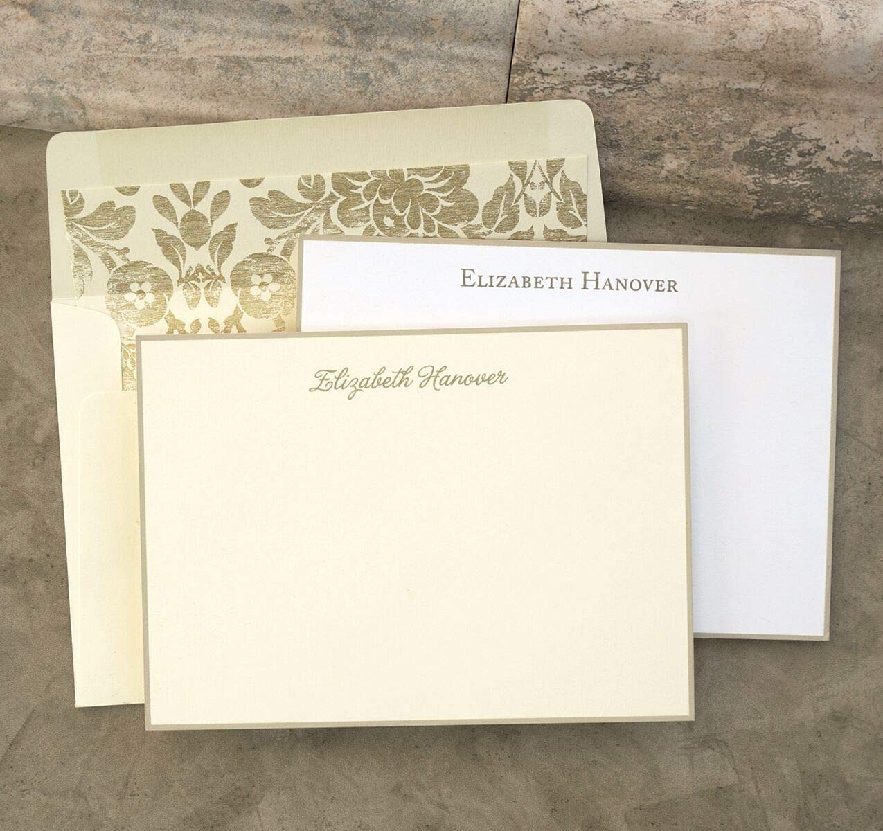 Taupe Hand Bordered Correspondence Cards - Set of 25-3503 by American Stationery (Image #1)
