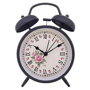 Konigswerk - Reloj despertador (10,16 cm, silencioso, mecanismo de cuarzo, analógico, con sonido alto de despertador), diseño vintage (Elegant Roses): ...