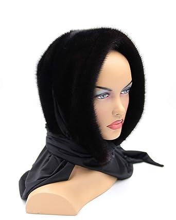 Amazon.com: Mujer Pelo pañuelo para la cabeza hecho de visón ...