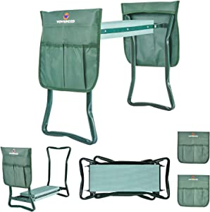 Garden Kneeler and Seat,2-in-1 Folding Stool with 2 Large Tool Pouches Portable Eva Foam Kneeling Pad Heavy Duty Load 330 Lbs for Gardening (B)