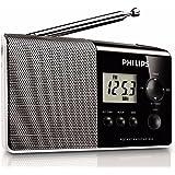 Philips AE1850 Radio FM numérique compacte avec haut-parleur intégré, prise audio, grand écran LCD, Noir
