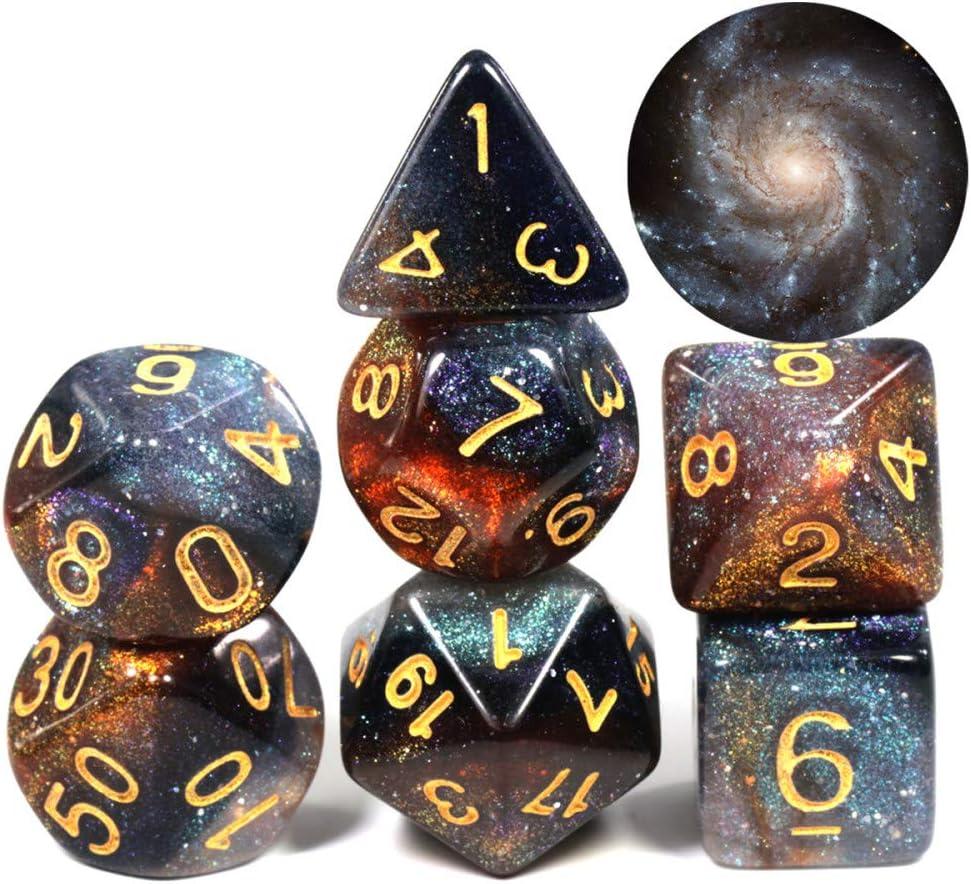 WHFDSBD Dados Poliédricos,Rehiletes Galaxia Galaxia Cósmica Concepto Dados 7 Piezas Juego De rol Accesorios De Mesa De Dados Juego De Mesa