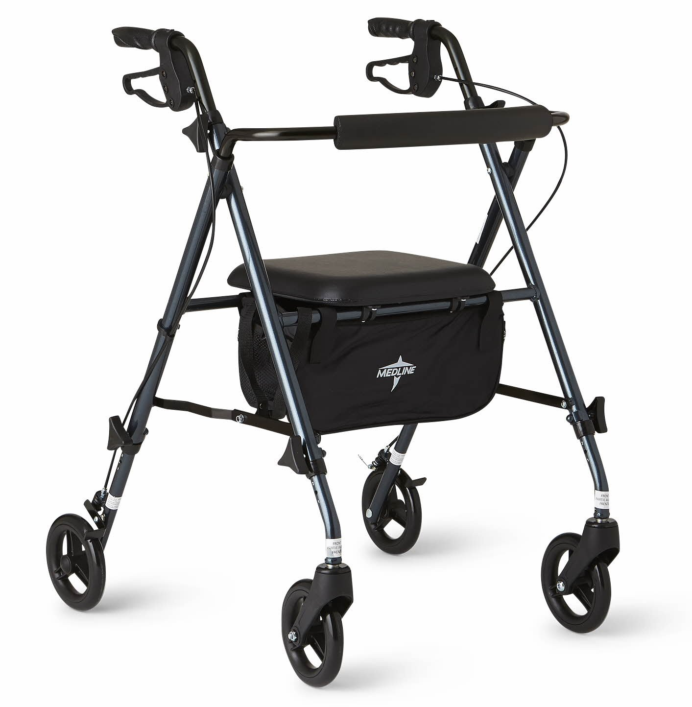 Medline Freedom Lightweight Folding Aluminum Rollator Walker with 6'' Wheels, Adjustable Arms and Seat, Smoky Blue