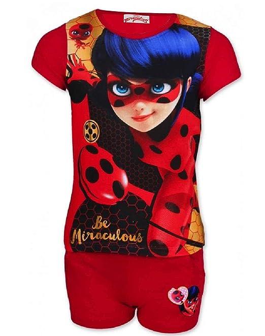 Miraculous Ladybug Pijama - para niña Rojo rosso 3-4 años (Tamaño Fabricante 4