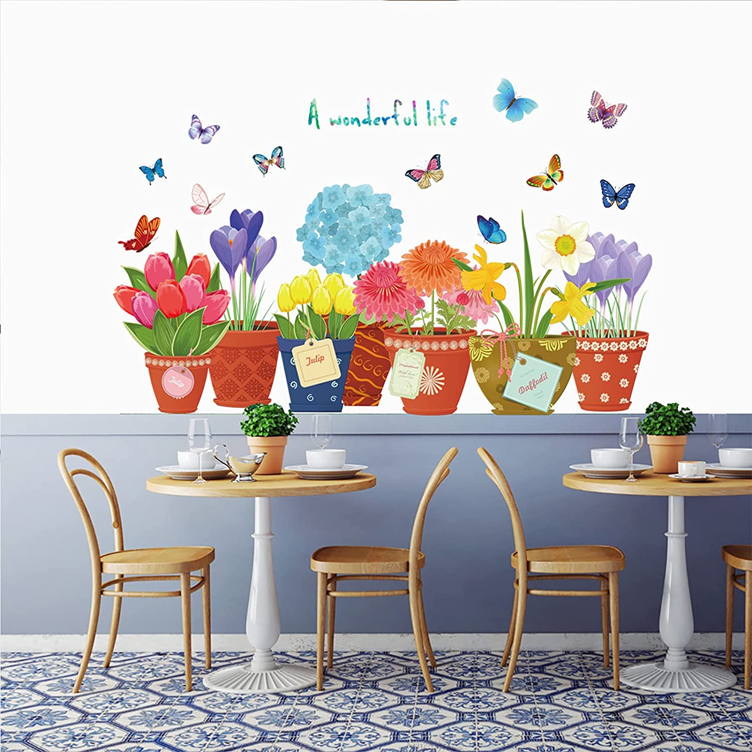 Colorful Flowers Wall Decals, Attractive Flying Butterflies Potted Flowers Bonsai Wall Stickers, Garden Flower Pot Wall Stickers, Removable DIY Plants Art Decor Murals for Bedroom, Nursery, TV Wall