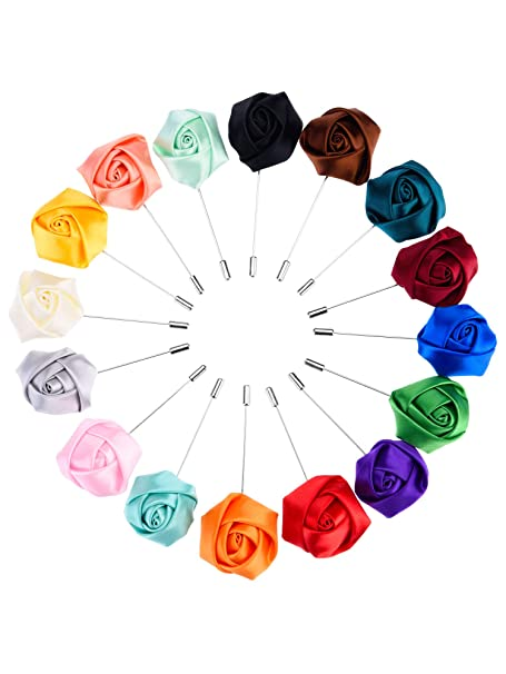15 Pieces Men/'s Lapel Pin Handmade Flower Boutonniere Set for Suit Wedding Groom