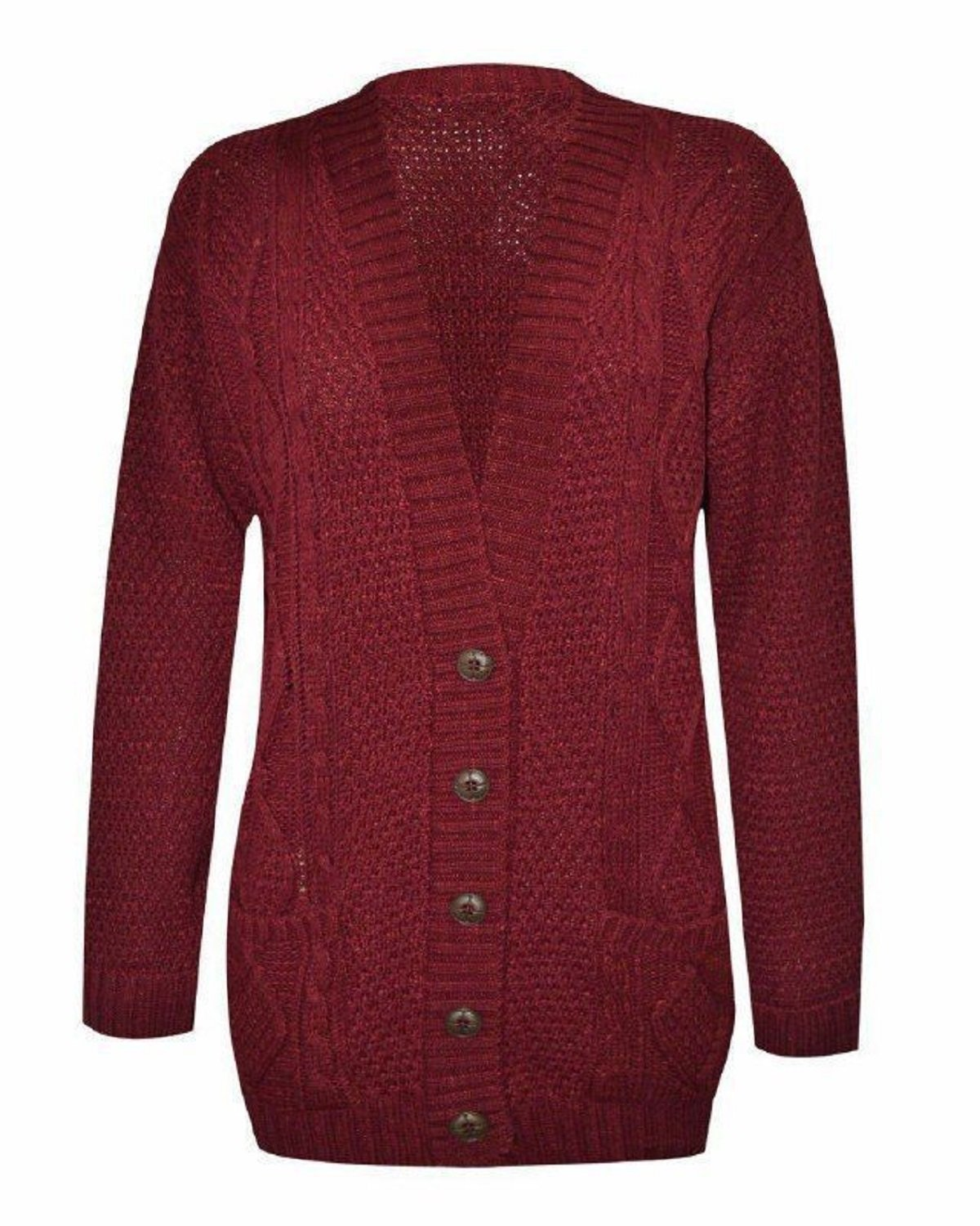 (FF11) Women Ladies Long Sleeve Button Top Chunky Aran Cable Knitted Grandad Cardigan