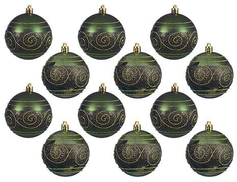 Christbaumkugeln Ornament.Zeitzone Christbaumkugeln Grün Gold Ornament 12 Stück Weihnachtskugeln Bruchfest 8cm
