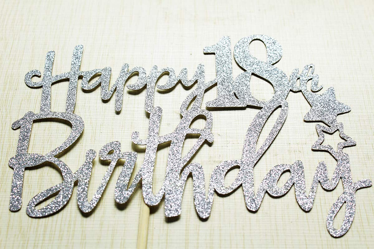 Hello 18 Cheers to 18 years Party Decorations Silver Glitter Happy 18th Birthday Cake Topper
