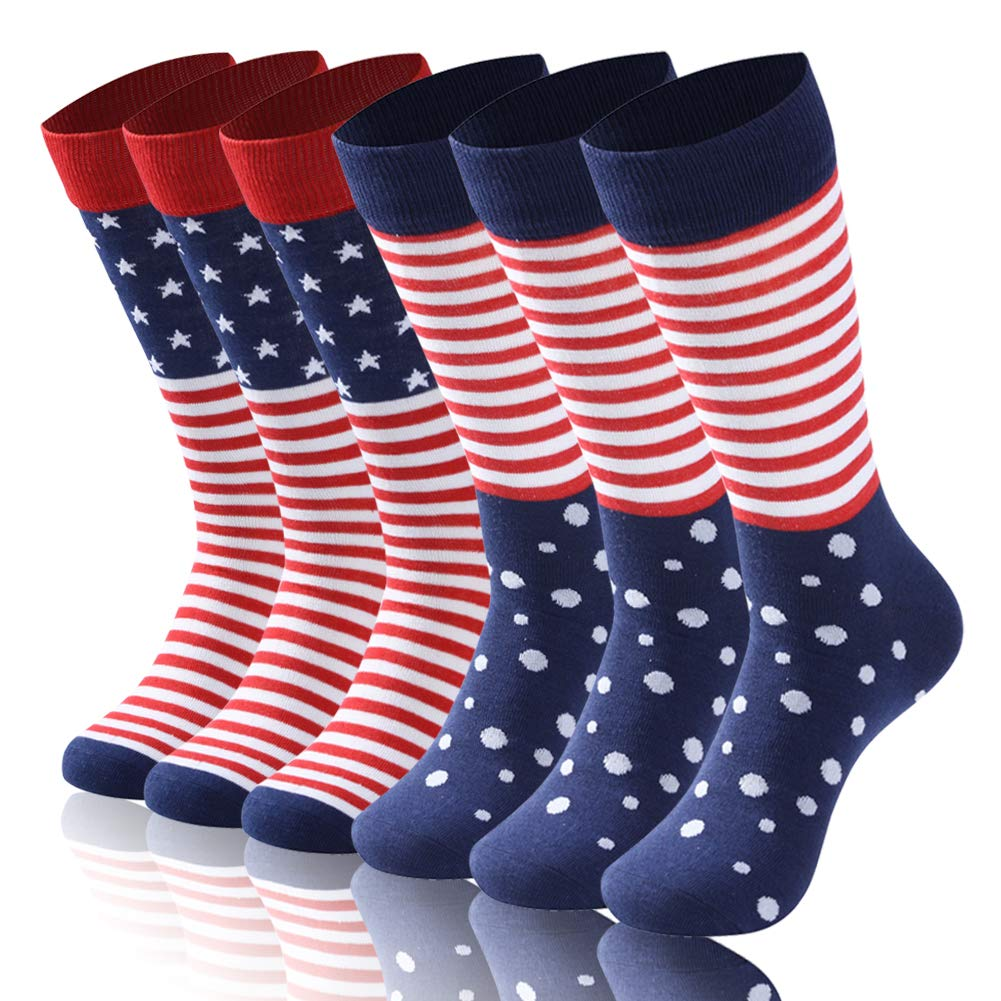 Diwollsam American Flag Socks, Women Men Patriotic Funky Fashion Blue Red Mid Calf Soft Independence Day Gift Casual Business Dress Socks, 6 Pairs(American Flag, L) by diwollsam