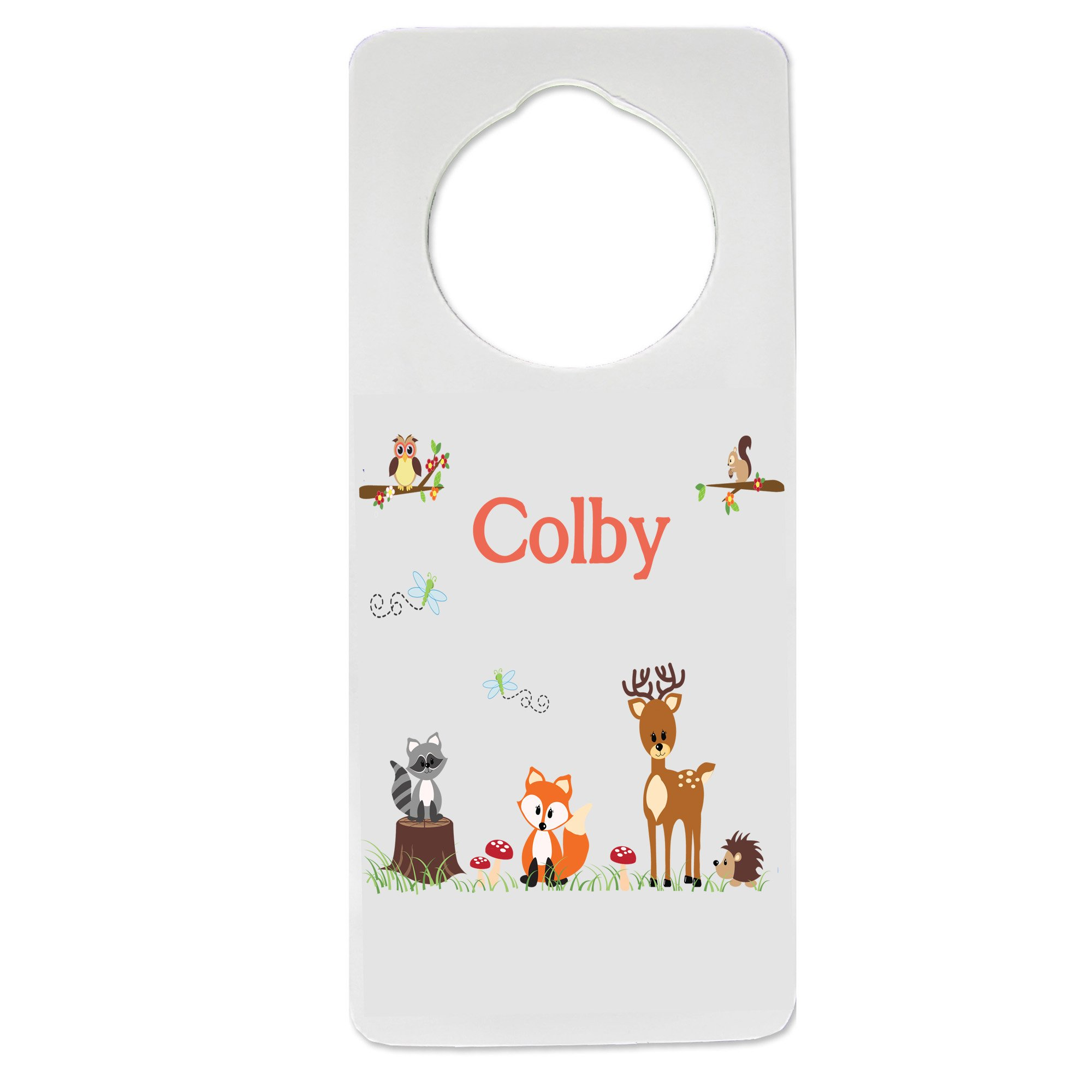 Personalized Nursery Door Hanger with Coral Forest Animals design