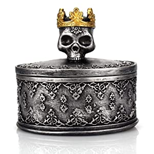 TBWHL Skeleton Head Jewelry Box Jewelry Holder Organizer Halloween Decorations Home Skull Decor Black