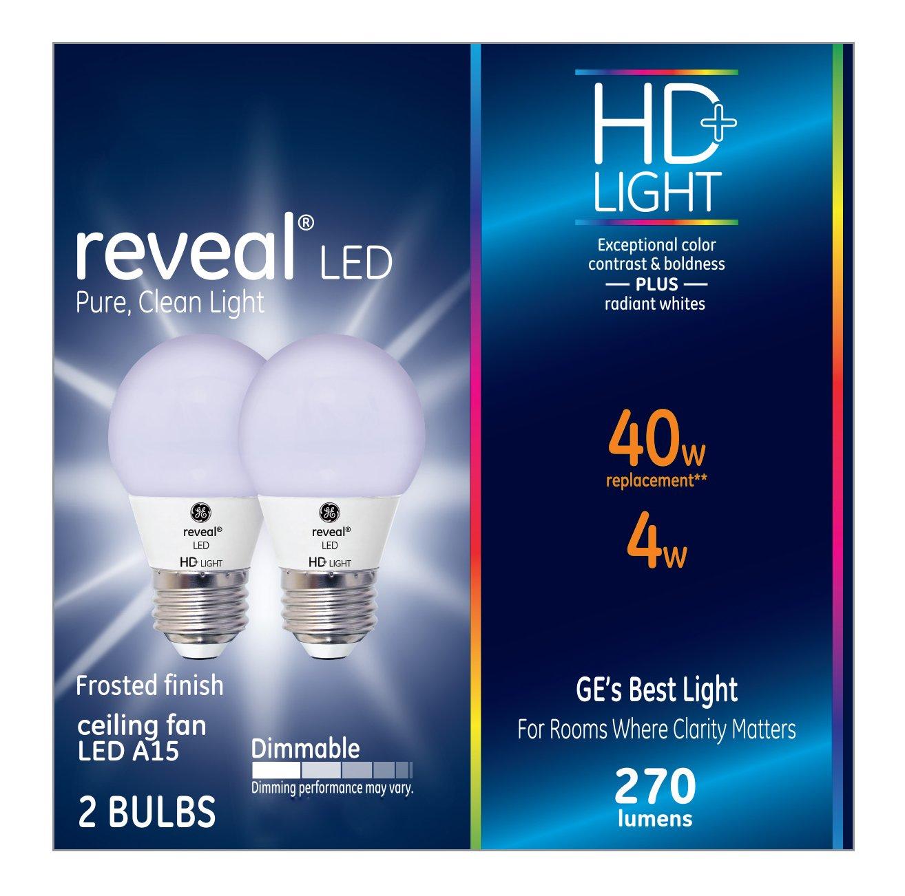 GE Lighting Reveal HD LED  4-watt (40-watt Replacement), 270-Lumen A15 Light Bulb with Medium Base, 2-Pack