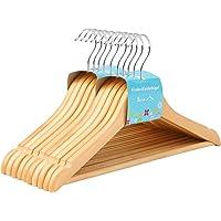 SONGMICS Kinderkledinghanger van massief hout, 10 stuks, houten hanger voor kinderen met anti-slip broekschouder en…