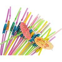 Umbrella Straws – 150-Piece Disposable Drinking Straws, Hawaiian