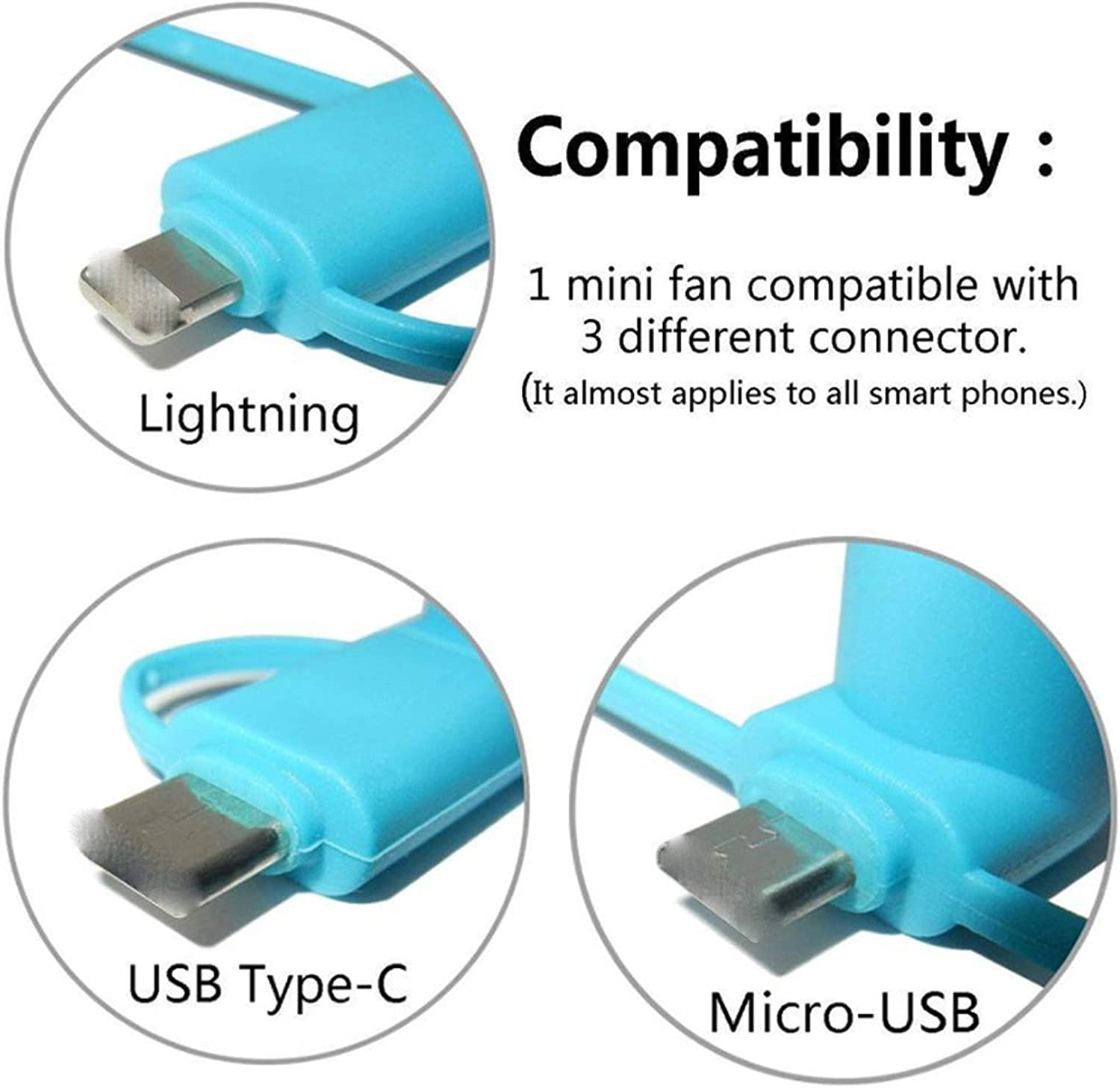 Android 3 in 1 Portable Mini USB Handheld Fan Mobile Phone Fans Cell Phone for iPhone//iPad Samsung S8 Xiaomi Mi5 Mi6,Black