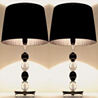 Pair of New Deco Modern Designer Bedside Table Lamps with Black Ribbon Shade Set of 2
