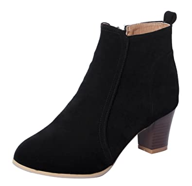 Womens Vintage Chunky Stracked Heels Ankle Booties