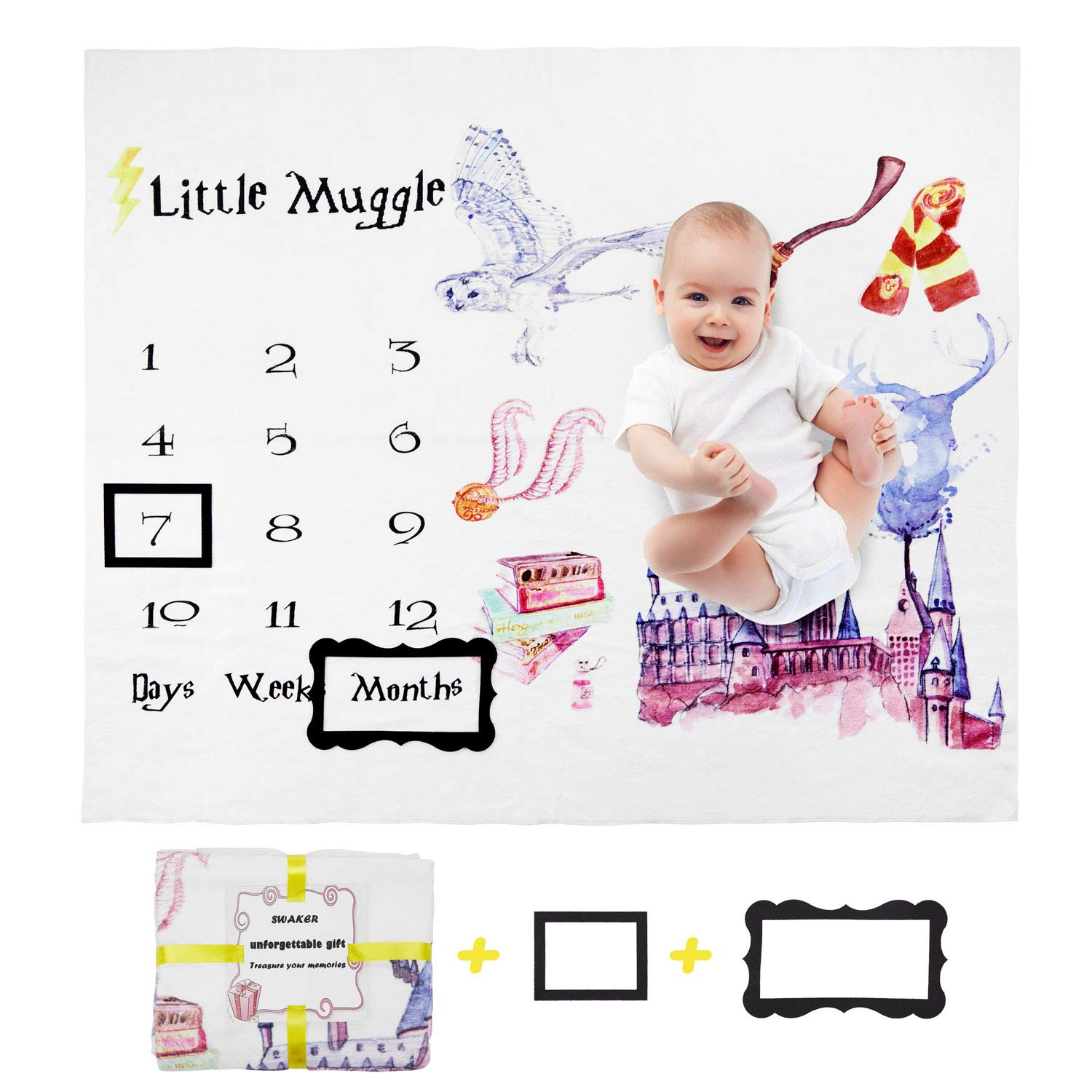 Baby Monthly Milestone Blanket for Girl and Boy, Premium Flannel Fleece, Newborn Photo Prop Blanket, Marker and Frame Included by SWAKER
