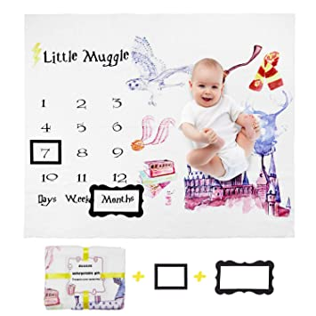 Large Baby Month Blanket Comes in Plush Fleece w//Floral Pattern Record Baby Monthly Milestone Moments with Photo Frame Prop Baby Milestone Blanket for Boy or Girls Monthly /& Weekly Growth
