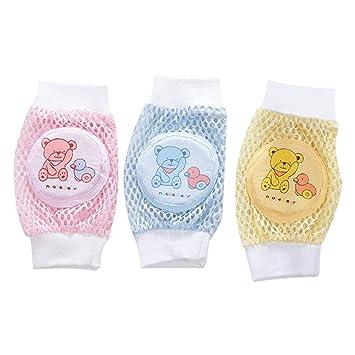 3 pares bebé bebé gatear calcetines transpirable antideslizante bebé rodilleras protector de pantalla para niños: Amazon.es: Deportes y aire libre