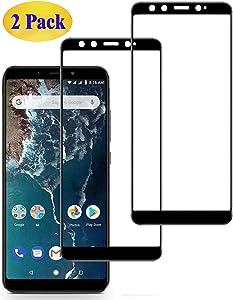 Eachy Cristal Templado Xiaomi Mi A2 Vidrio Templado, [2 Unidades] Protector de Pantalla Xiaomi Mi A2 Cobertura Completa 5,99 Pulgadas-Negro