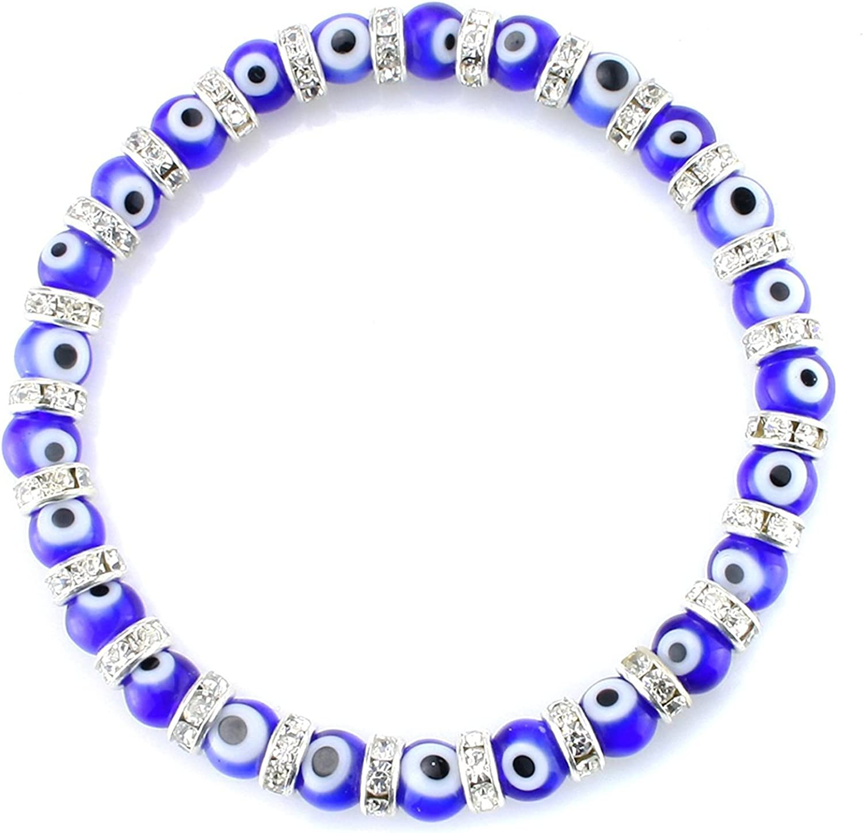 JewelrieShop Turkish Evil Eye Bracelet Murano Glass Turkish Eye Bead Bracelet for Women (Red, Black, Blue Evil Eye Bracelet)