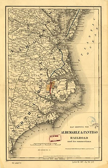 Map Of Virginia Coastal Towns.Amazon Com Vintage 1887 Map Of Map Showing The Albemarle Pantego