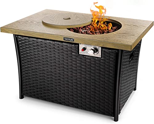 TACKLIFE Propane fire Pit Table, Imitation Wood Texture, Steel Tabletop, Hand-Woven Rattan Pattern, 50,000 BTU, Stretchable Gas Tank Rack, 41 inch Rectangular Outdoor Gas fire Table
