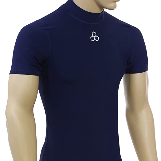 0ce4037f8dd McDavid Classic 893 Men s Short Sleeve Mock Neck Compression Shirt Navy  Small