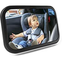 CCAUTOVIE Baby Car Mirror Back Seat Baby Mirror for Car Seat Rear Facing Infant Large Clear Mirror Shatterproof 360° Rotation