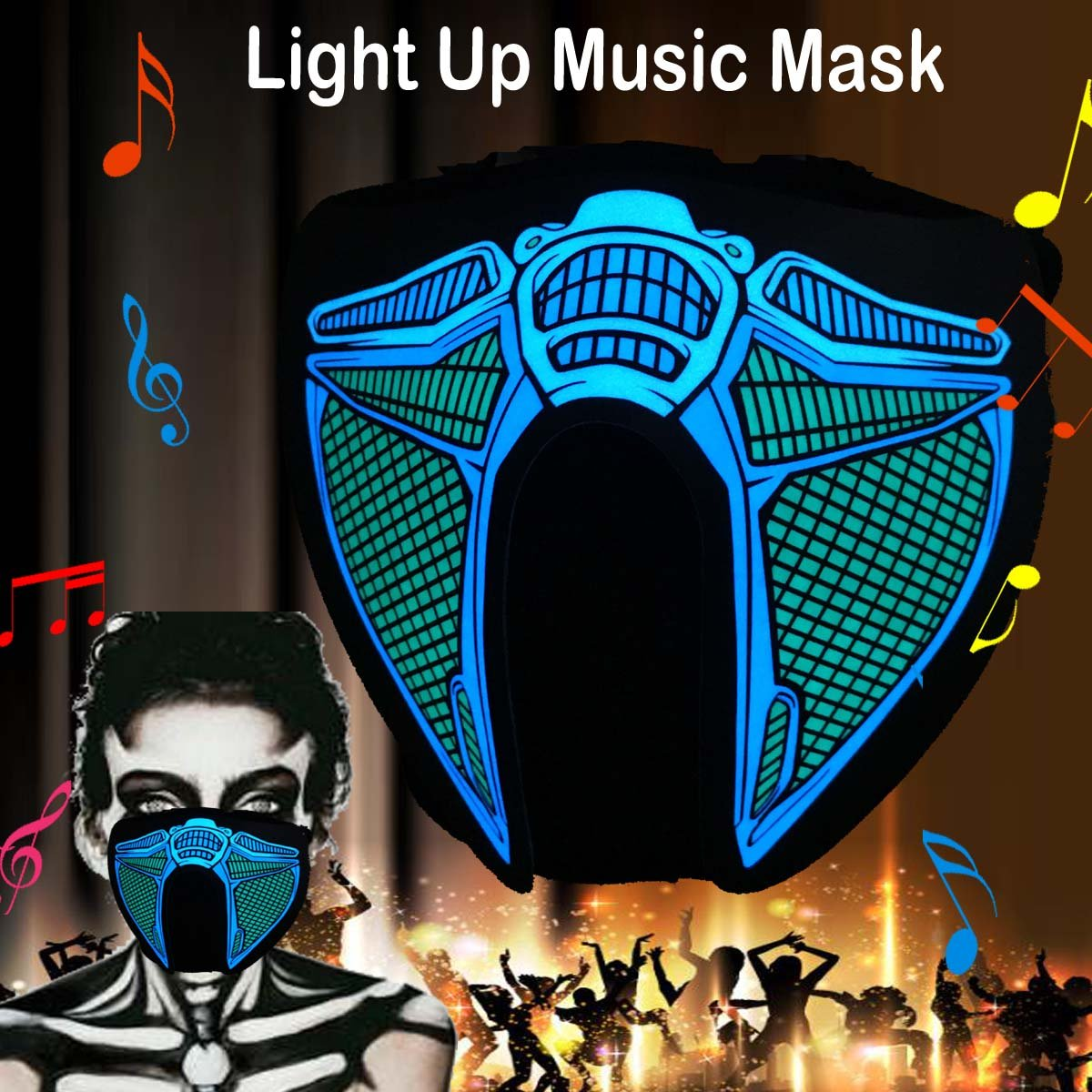 flashingworld Music LED Party Mask with Sound Active for Dancing,Riding,Skating,Party and Any Festival (Robot-Mask)