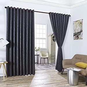 "WARM HOME DESIGNS 2 of 108"" (Width) X 120"" (Length) Wall to Wall Charcoal Embossed Room Divider Curtains with 2 Tie-Backs. Total Width is 216 Inches (18 feet). Length 10 Feet. EV Charcoal Wall 120"""
