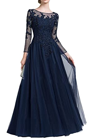 DressyMe Womens Evening Dresses Long Sleeves Applique Tulle-6-Navy Blue
