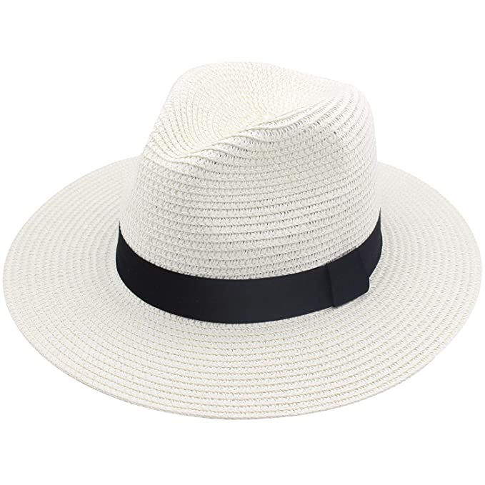 a3fcc93c7da5e Amazon.com  YUUVE Womens Panama Hat Wide Brim Straw Roll Up Fedora Summer  Beach Sun Hat UPF 50+  Clothing