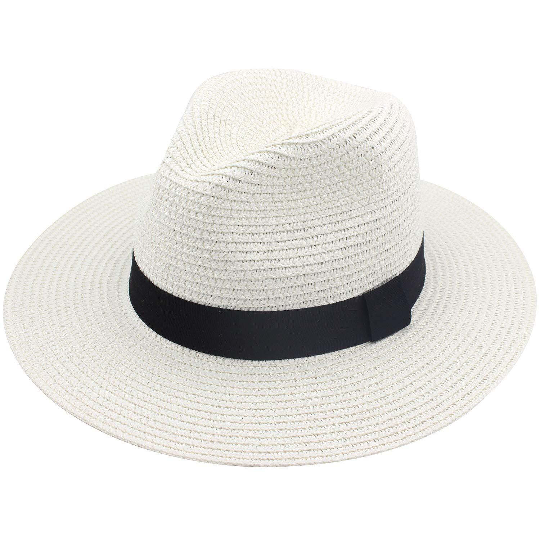 YUUVE Womens Panama Hat Wide Brim Straw Roll Up Fedora Summer Beach Sun Hat UPF 50+ Ivory White