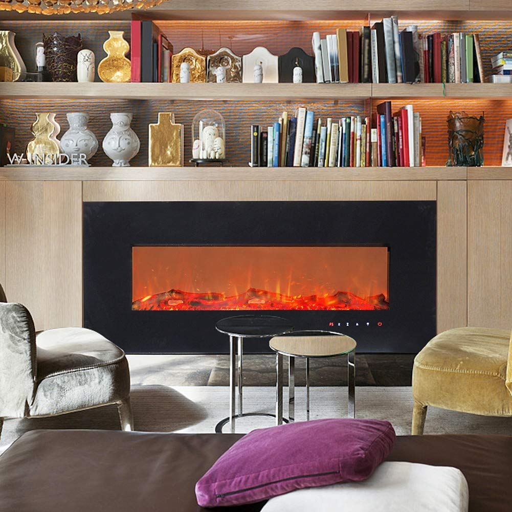 ART TO REAL 50'' Electric Wall Mounted Fireplace Heaters with Remote and Timer, 5 Realistic Flame, 1500/750 Watt Heater, Ceramic Firewood Log Inserts, Tempered Glass Touch Screen by ART TO REAL