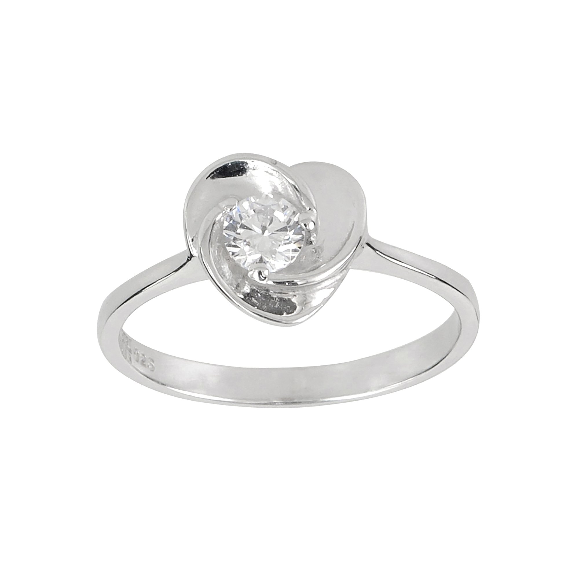 Aura by TJM Sterling Silver Round Cut 0.40 cts White CZ Floral Ring