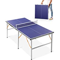 Mid-Size Ping Pong Table, Multi-Use Foldable Table Tennis Table for Indoor Outdoor Family Game, 2 Table Tennis Paddles…