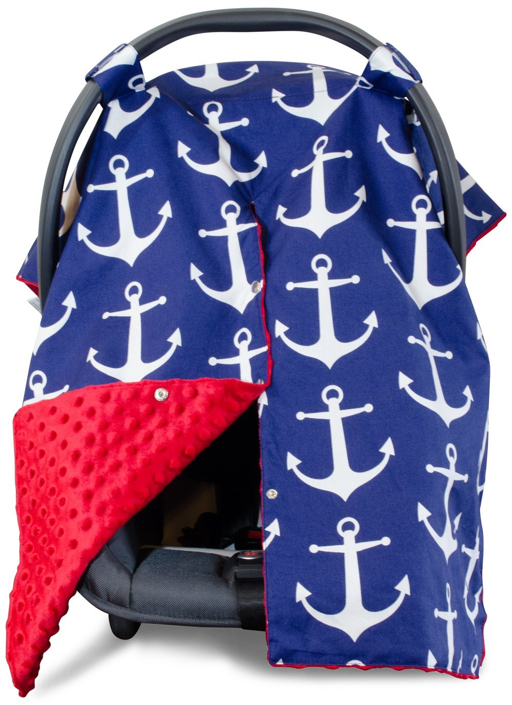 2 in 1 Carseat Canopy and Nursing Cover Up with Peekaboo Opening | Large Infant Car Seat Canopy for Girl or Boy | Best Baby Shower Gift for Breastfeeding Moms | Navy Blue Anchor Pattern with Red Minky Kids N' Such