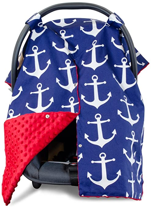 2 in 1 Carseat Canopy and Nursing Cover Up with Peekaboo Opening | Large Infant Car Seat Canopy for Girl or Boy | Best Baby Shower Gift for Breastfeeding Moms | Navy Blue Anchor Pattern with Red Minky