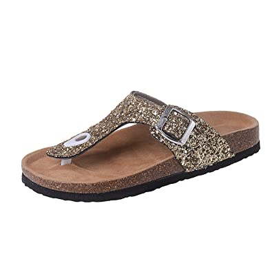 57d238cf3 Women s Summer New Lady Flat Bling Flip Flops Cork Sequin Slippers Beach  Non-Slip Flip