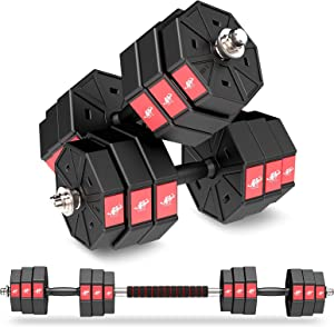 LEADNOVO Weights Dumbbell Barbell Set, 44Lbs 66Lbs 88Lbs 3 in 1 Adjustable Weights Dumbbells Set, Home Fitness Weight Set Gym Workout Exercise Training with Connecting Rod for Men Women